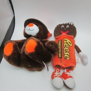 Reeses teddy bear and cups plushes